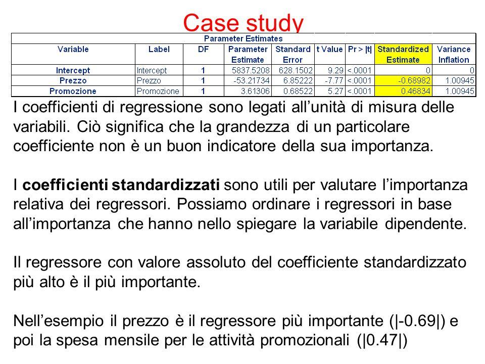 Case study I coefficienti di regressione sono legati all'unità di misura delle variabili.