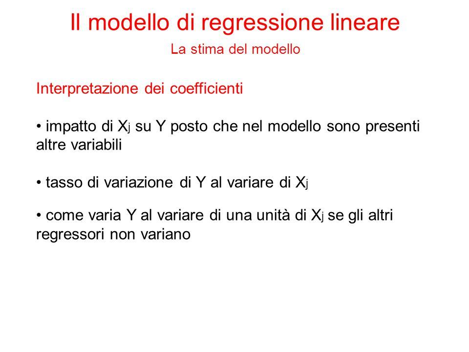 Interpretazione dei coefficienti impatto di X j su Y posto che nel modello sono presenti altre variabili tasso di variazione di Y al variare di X j come varia Y al variare di una unità di X j se gli altri regressori non variano Il modello di regressione lineare La stima del modello