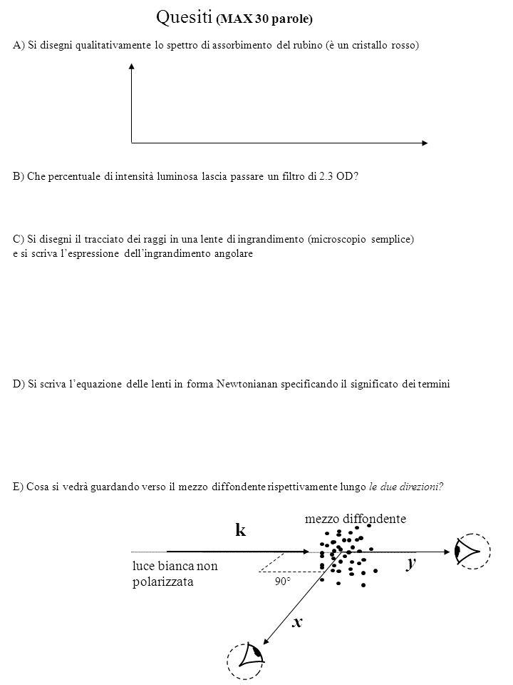 Soluzioni 2) 1) inoltre, per il criterio di Rayleigh, deve essere: (a) Alternativamente, nell'approssimazione che l'immagine si forma circa nel fuoco: