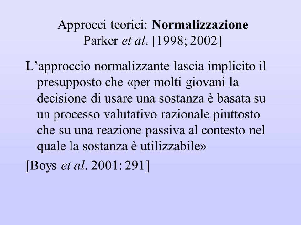 Approcci teorici: Normalizzazione Parker et al. [1998; 2002] L'approccio normalizzante lascia implicito il presupposto che «per molti giovani la decis