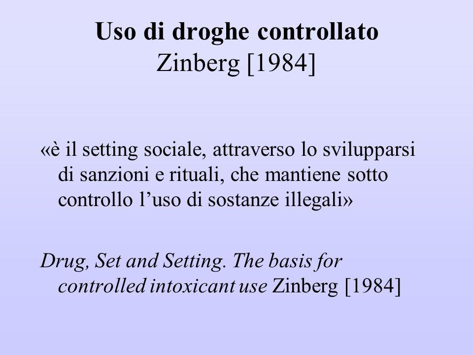 Uso di droghe controllato Zinberg [1984] «è il setting sociale, attraverso lo svilupparsi di sanzioni e rituali, che mantiene sotto controllo l'uso di