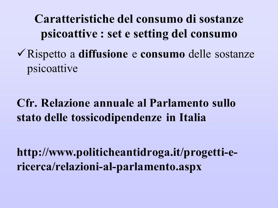 Caratteristiche del consumo di sostanze psicoattive : set e setting del consumo Rispetto a diffusione e consumo delle sostanze psicoattive Cfr. Relazi