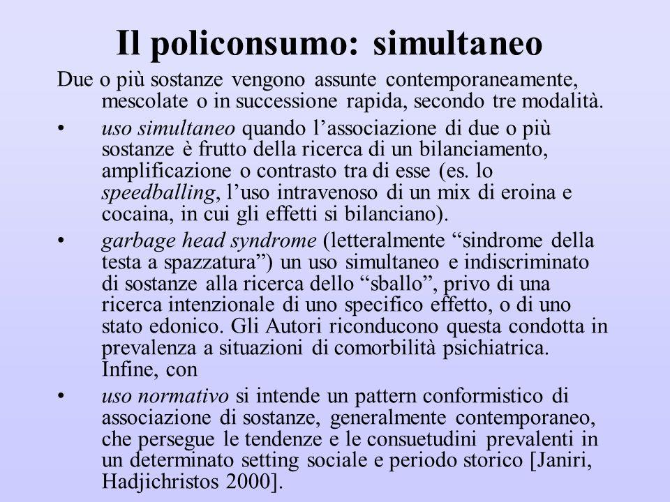 Il policonsumo: simultaneo Due o più sostanze vengono assunte contemporaneamente, mescolate o in successione rapida, secondo tre modalità. uso simulta