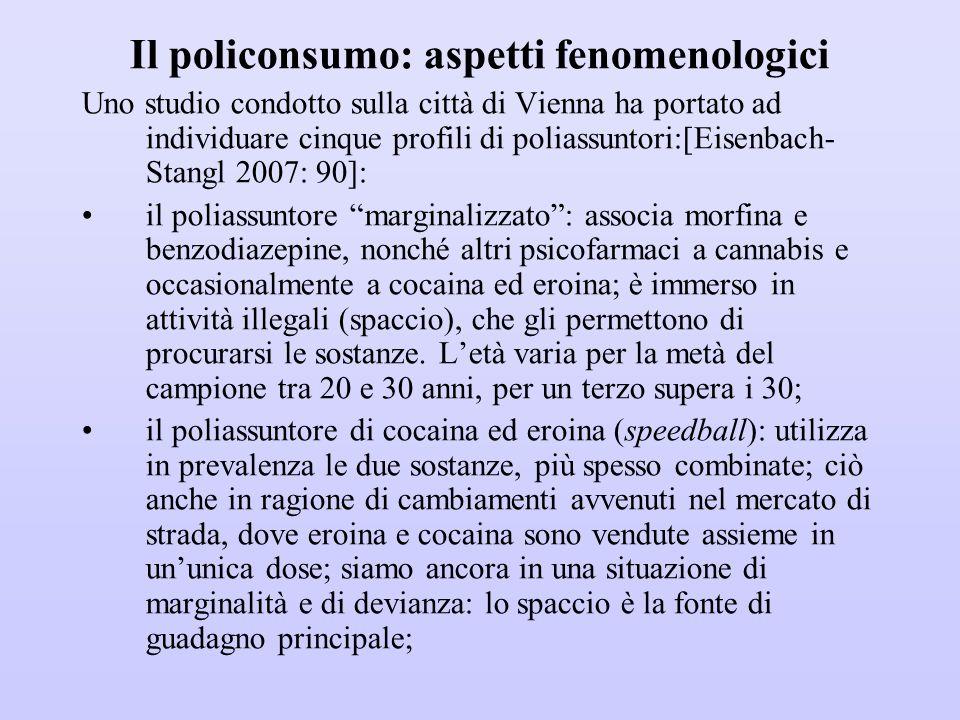 Il policonsumo: aspetti fenomenologici Uno studio condotto sulla città di Vienna ha portato ad individuare cinque profili di poliassuntori:[Eisenbach-