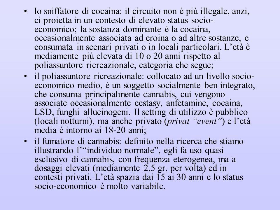 lo sniffatore di cocaina: il circuito non è più illegale, anzi, ci proietta in un contesto di elevato status socio- economico; la sostanza dominante è