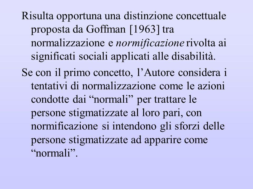 Risulta opportuna una distinzione concettuale proposta da Goffman [1963] tra normalizzazione e normificazione rivolta ai significati sociali applicati