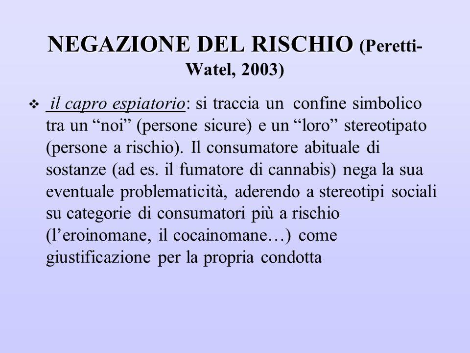 """NEGAZIONE DEL RISCHIO NEGAZIONE DEL RISCHIO (Peretti- Watel, 2003)  il capro espiatorio: si traccia un confine simbolico tra un """"noi"""" (persone sicur"""