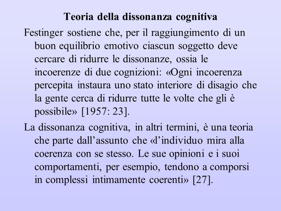 Teoria della dissonanza cognitiva Festinger sostiene che, per il raggiungimento di un buon equilibrio emotivo ciascun soggetto deve cercare di ridurre