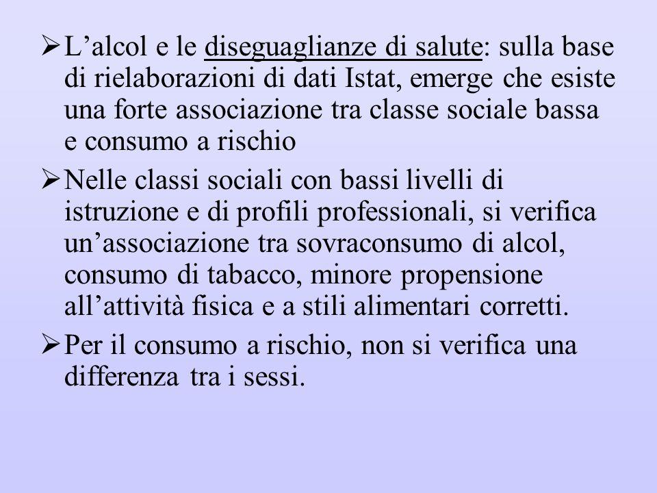  L'alcol e le diseguaglianze di salute: sulla base di rielaborazioni di dati Istat, emerge che esiste una forte associazione tra classe sociale bassa