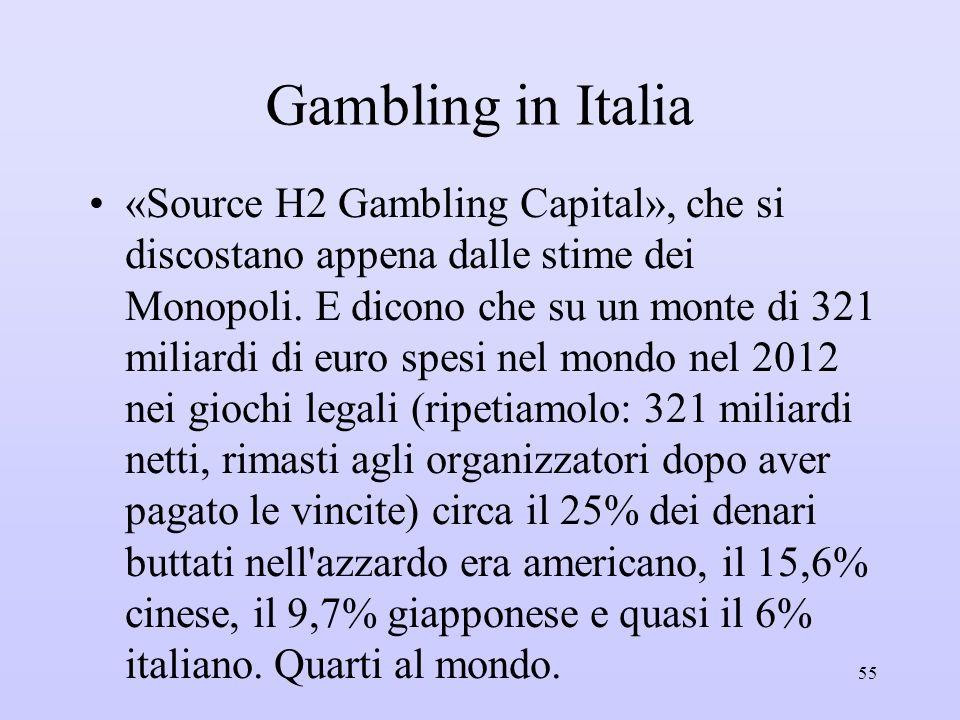 Gambling in Italia «Source H2 Gambling Capital», che si discostano appena dalle stime dei Monopoli. E dicono che su un monte di 321 miliardi di euro s