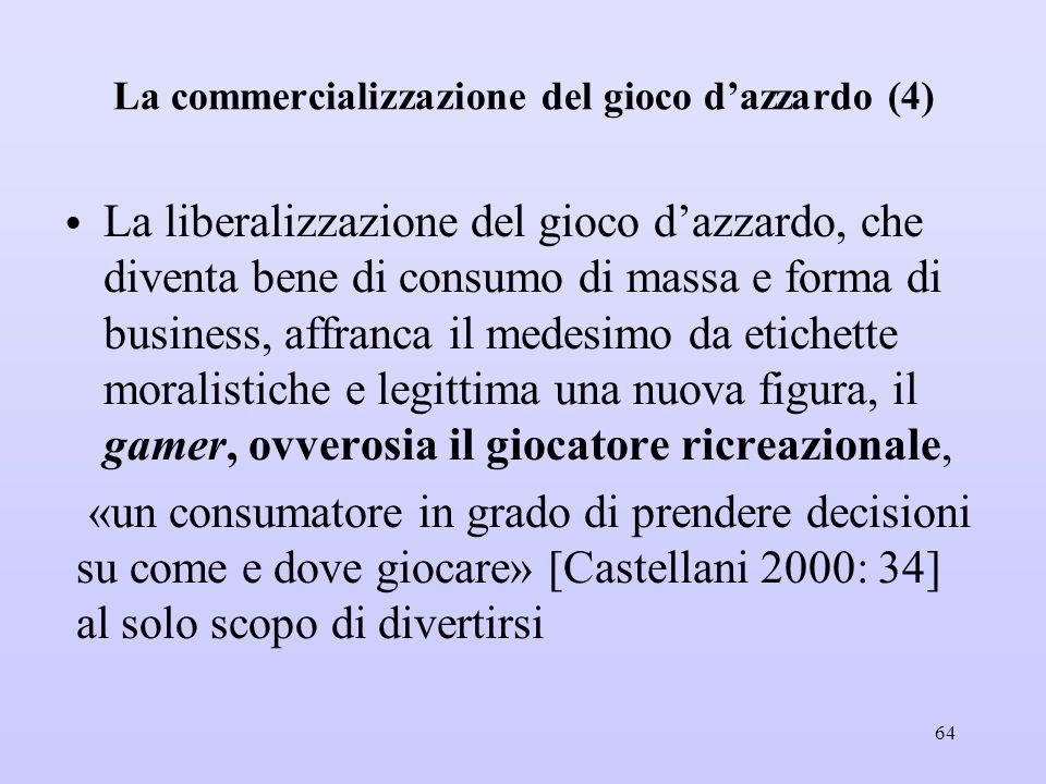 La commercializzazione del gioco d'azzardo (4) La liberalizzazione del gioco d'azzardo, che diventa bene di consumo di massa e forma di business, affr