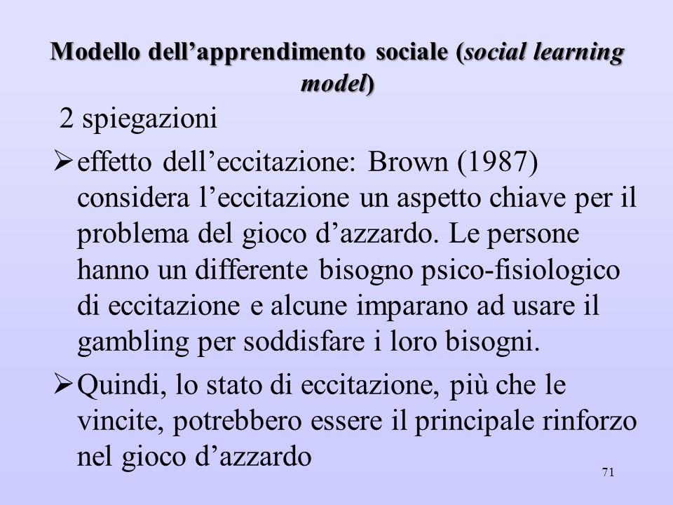 Modello dell'apprendimento sociale (social learning model) 2 spiegazioni  effetto dell'eccitazione: Brown (1987) considera l'eccitazione un aspetto c