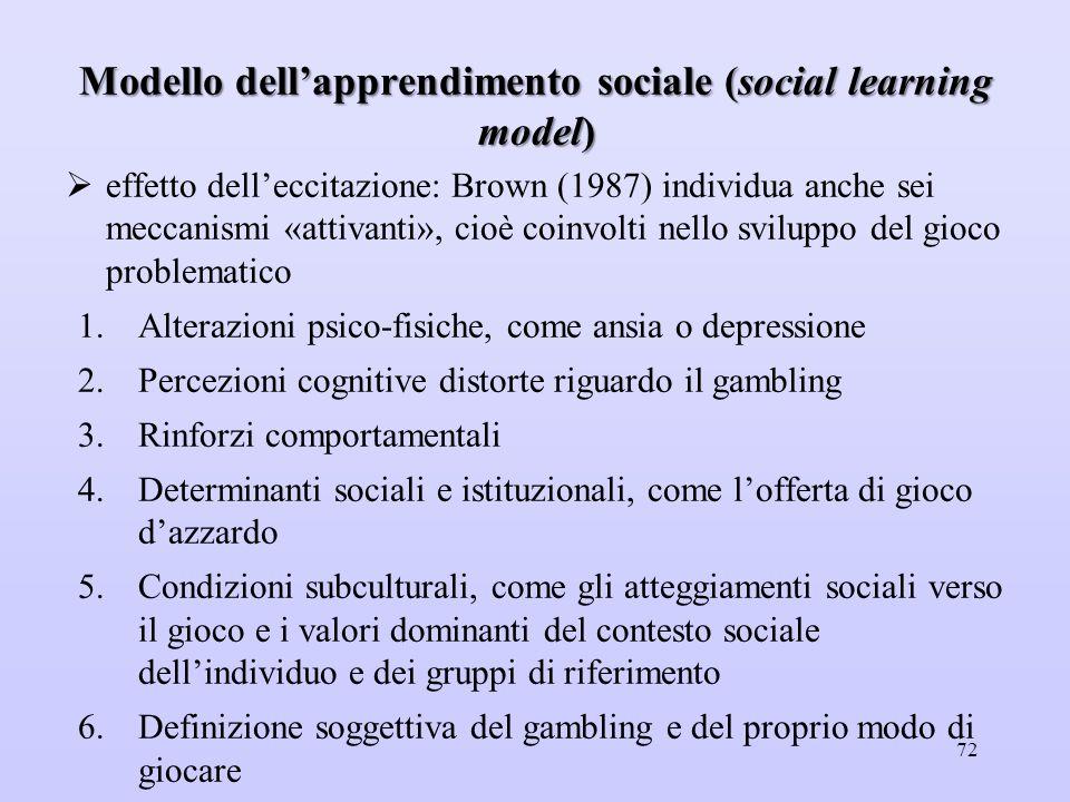 Modello dell'apprendimento sociale (social learning model)  effetto dell'eccitazione: Brown (1987) individua anche sei meccanismi «attivanti», cioè c