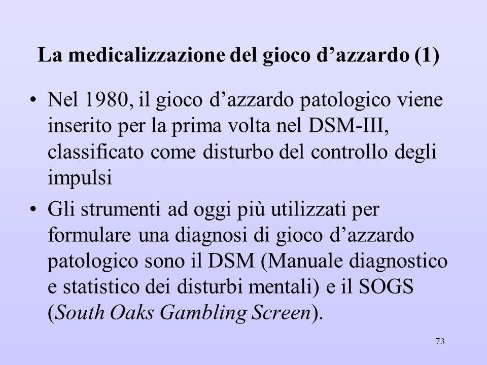 La medicalizzazione del gioco d'azzardo (1) Nel 1980, il gioco d'azzardo patologico viene inserito per la prima volta nel DSM-III, classificato come d