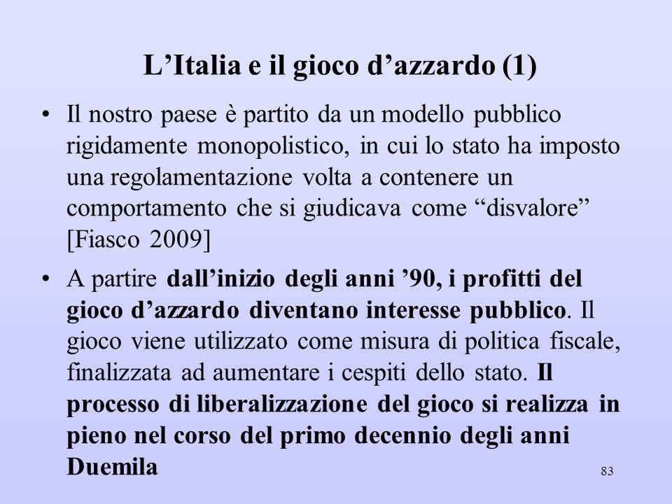 L'Italia e il gioco d'azzardo (1) Il nostro paese è partito da un modello pubblico rigidamente monopolistico, in cui lo stato ha imposto una regolamen