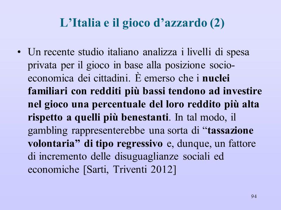 L'Italia e il gioco d'azzardo (2) Un recente studio italiano analizza i livelli di spesa privata per il gioco in base alla posizione socio- economica