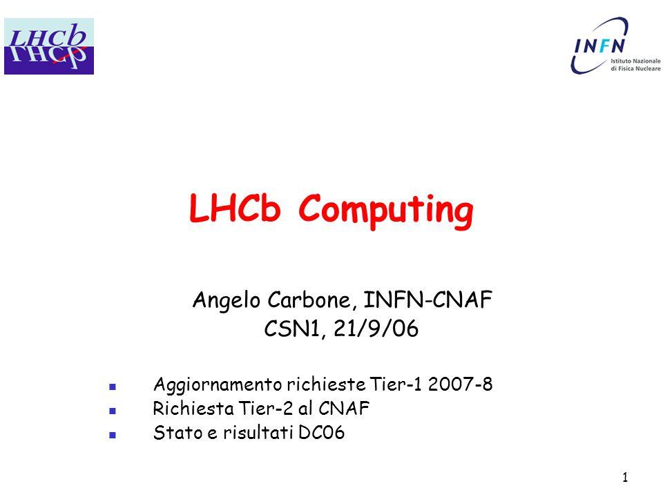 1 LHCb Computing Angelo Carbone, INFN-CNAF CSN1, 21/9/06 Aggiornamento richieste Tier-1 2007-8 Richiesta Tier-2 al CNAF Stato e risultati DC06
