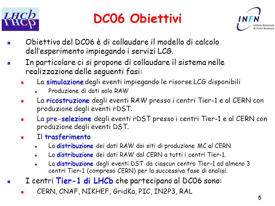 5 DC06 Obiettivi Obiettivo del DC06 è di collaudare il modello di calcolo dell'esperimento impiegando i servizi LCG.