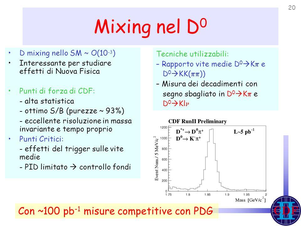 20 Mixing nel D 0 D mixing nello SM ~ O(10 -3 ) Interessante per studiare effetti di Nuova Fisica Punti di forza di CDF: - alta statistica - ottimo S/B (purezze ~ 93%) - eccellente risoluzione in massa invariante e tempo proprio Punti Critici: - effetti del trigger sulle vite medie - PID limitato  controllo fondi Tecniche utilizzabili: – Rapporto vite medie D 0  K  e D 0  KK(  )) – Misura dei decadimenti con segno sbagliato in D 0  K  e D 0  Kl Con ~100 pb -1 misure competitive con PDG
