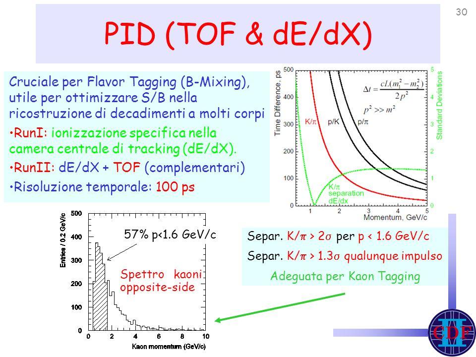 30 PID (TOF & dE/dX) Cruciale per Flavor Tagging (B-Mixing), utile per ottimizzare S/B nella ricostruzione di decadimenti a molti corpi RunI: ionizzazione specifica nella camera centrale di tracking (dE/dX).