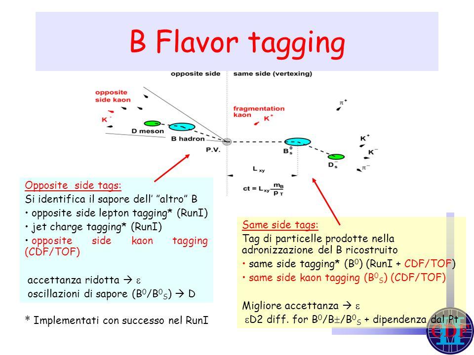 Same side tags: Tag di particelle prodotte nella adronizzazione del B ricostruito same side tagging* (B 0 ) (RunI + CDF/TOF) same side kaon tagging (B 0 S ) (CDF/TOF) Migliore accettanza    D2 diff.