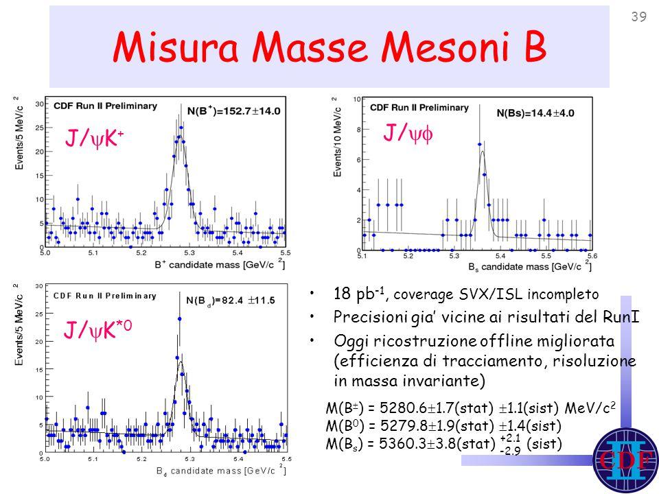 39 Misura Masse Mesoni B 18 pb -1, coverage SVX/ISL incompleto Precisioni gia' vicine ai risultati del RunI Oggi ricostruzione offline migliorata (efficienza di tracciamento, risoluzione in massa invariante) J/  K + J/  K *0 J/  M(B  ) = 5280.6  1.7(stat)  1.1(sist) MeV/c 2 M(B 0 ) = 5279.8  1.9(stat)  1.4(sist) M(B s ) = 5360.3  3.8(stat) (sist) +2.1 -2.9