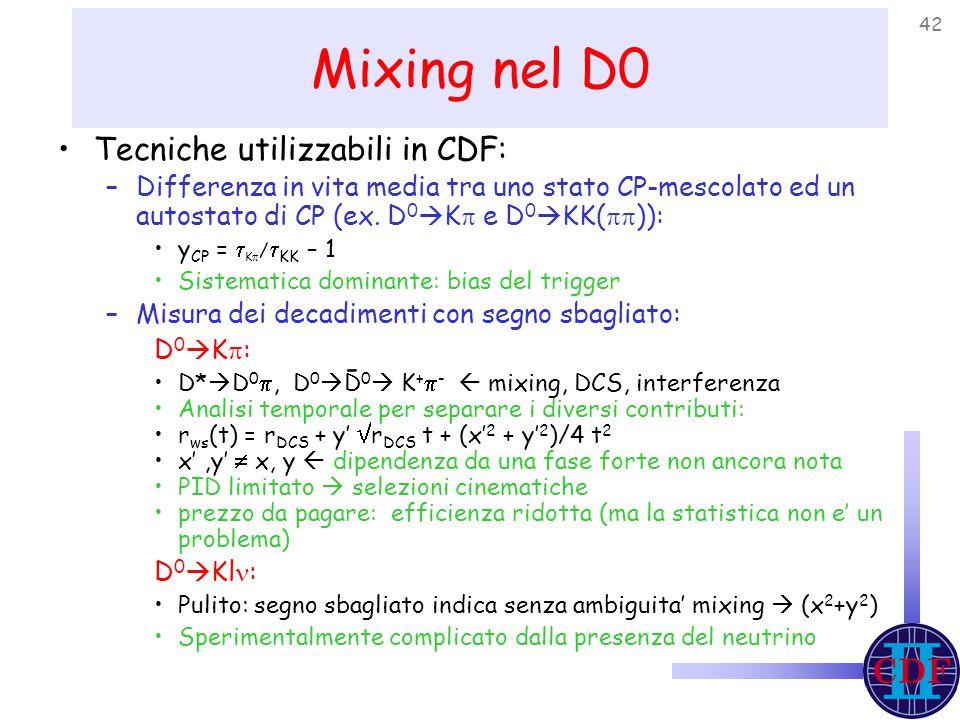 42 Mixing nel D0 Tecniche utilizzabili in CDF: –Differenza in vita media tra uno stato CP-mescolato ed un autostato di CP (ex.