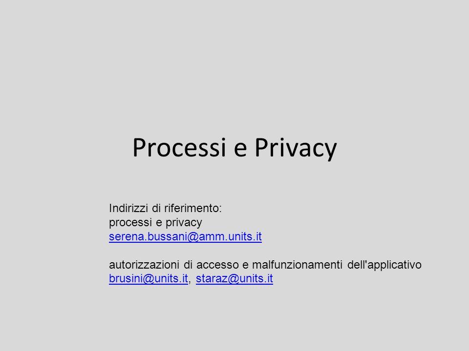 Processi e Privacy Indirizzi di riferimento: processi e privacy serena.bussani@amm.units.it autorizzazioni di accesso e malfunzionamenti dell applicativo brusini@units.itbrusini@units.it, staraz@units.itstaraz@units.it