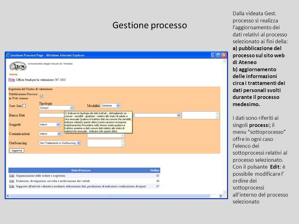 Gestione processo Dalla videata Gest.