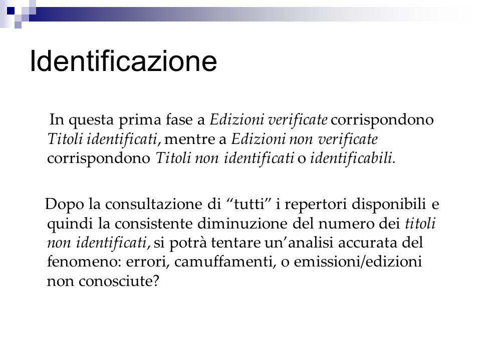 Identificazione In questa prima fase a Edizioni verificate corrispondono Titoli identificati, mentre a Edizioni non verificate corrispondono Titoli non identificati o identificabili.