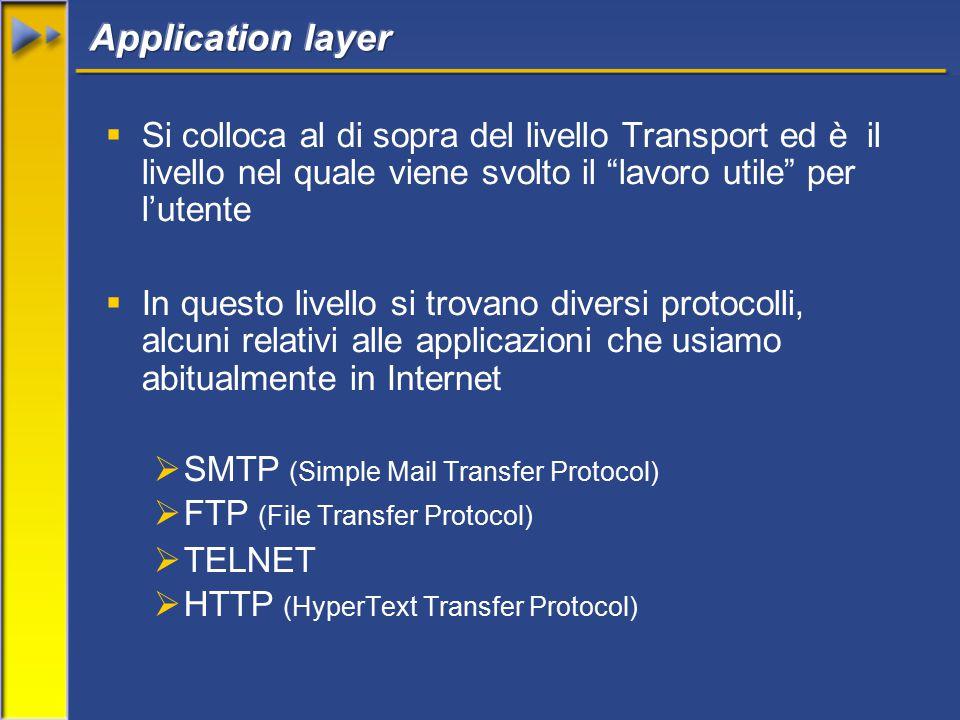  Si colloca al di sopra del livello Transport ed è il livello nel quale viene svolto il lavoro utile per l'utente  In questo livello si trovano diversi protocolli, alcuni relativi alle applicazioni che usiamo abitualmente in Internet  SMTP (Simple Mail Transfer Protocol)  FTP (File Transfer Protocol)  TELNET  HTTP (HyperText Transfer Protocol)