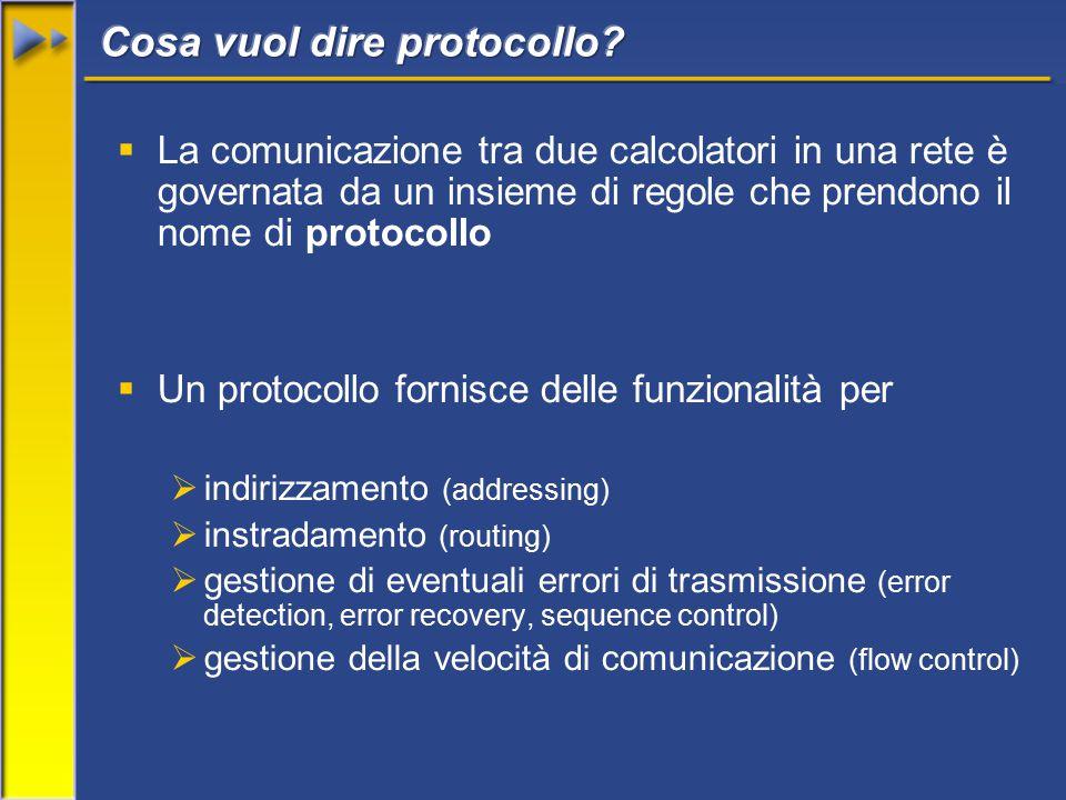  La comunicazione tra due calcolatori in una rete è governata da un insieme di regole che prendono il nome di protocollo  Un protocollo fornisce delle funzionalità per  indirizzamento (addressing)  instradamento (routing)  gestione di eventuali errori di trasmissione (error detection, error recovery, sequence control)  gestione della velocità di comunicazione (flow control)