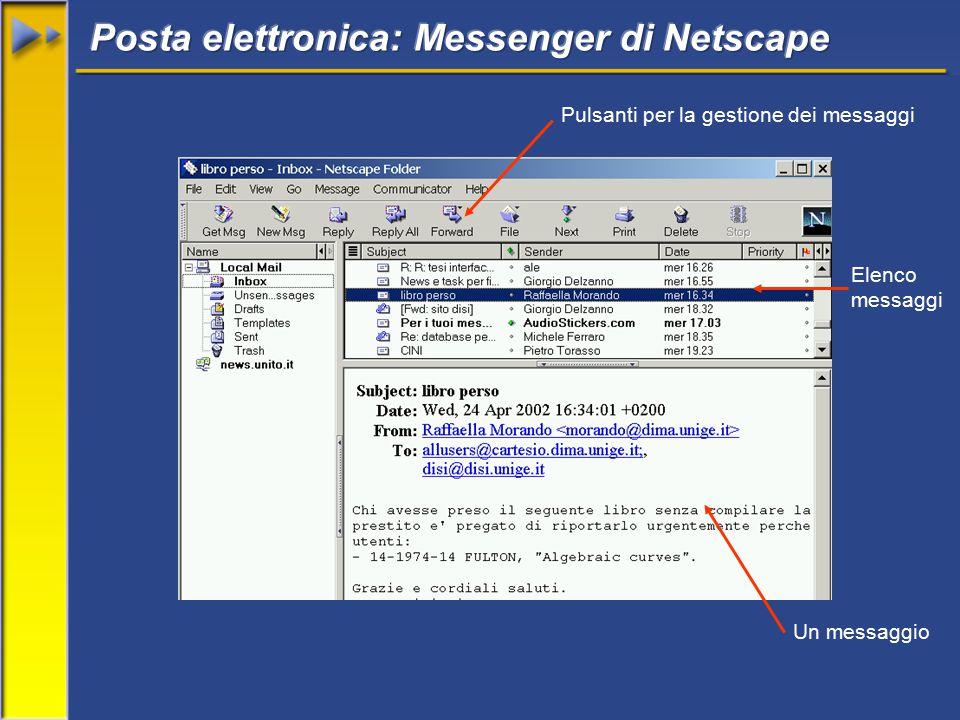 Elenco messaggi Un messaggio Pulsanti per la gestione dei messaggi