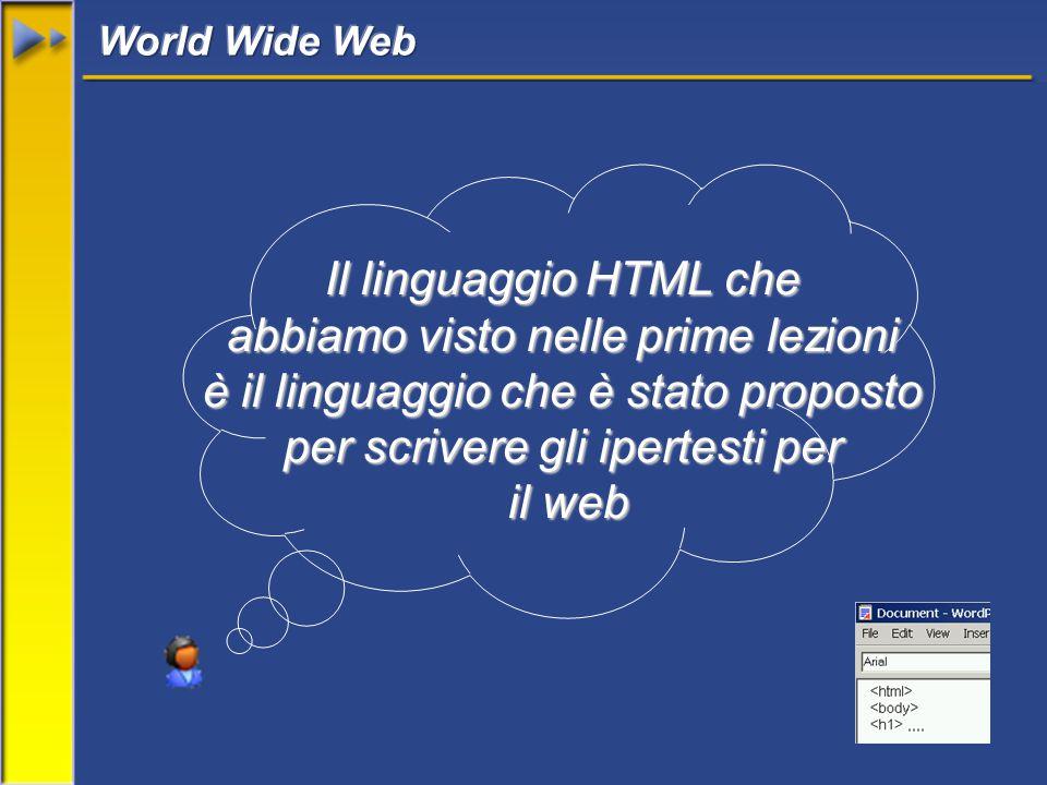 Il linguaggio HTML che abbiamo visto nelle prime lezioni è il linguaggio che è stato proposto per scrivere gli ipertesti per il web