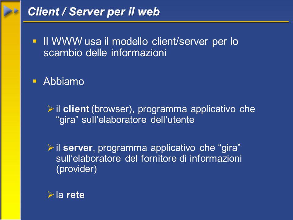  Il WWW usa il modello client/server per lo scambio delle informazioni  Abbiamo  il client (browser), programma applicativo che gira sull'elaboratore dell'utente  il server, programma applicativo che gira sull'elaboratore del fornitore di informazioni (provider)  la rete