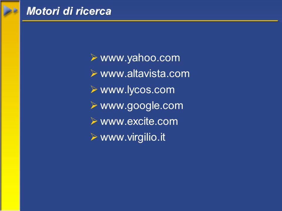  www.yahoo.com  www.altavista.com  www.lycos.com  www.google.com  www.excite.com  www.virgilio.it
