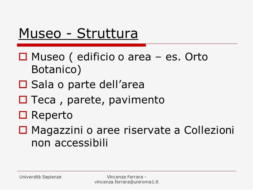 Università SapienzaVincenza Ferrara - vincenza.ferrara@uniroma1.it Museo - Struttura  Museo ( edificio o area – es. Orto Botanico)  Sala o parte del