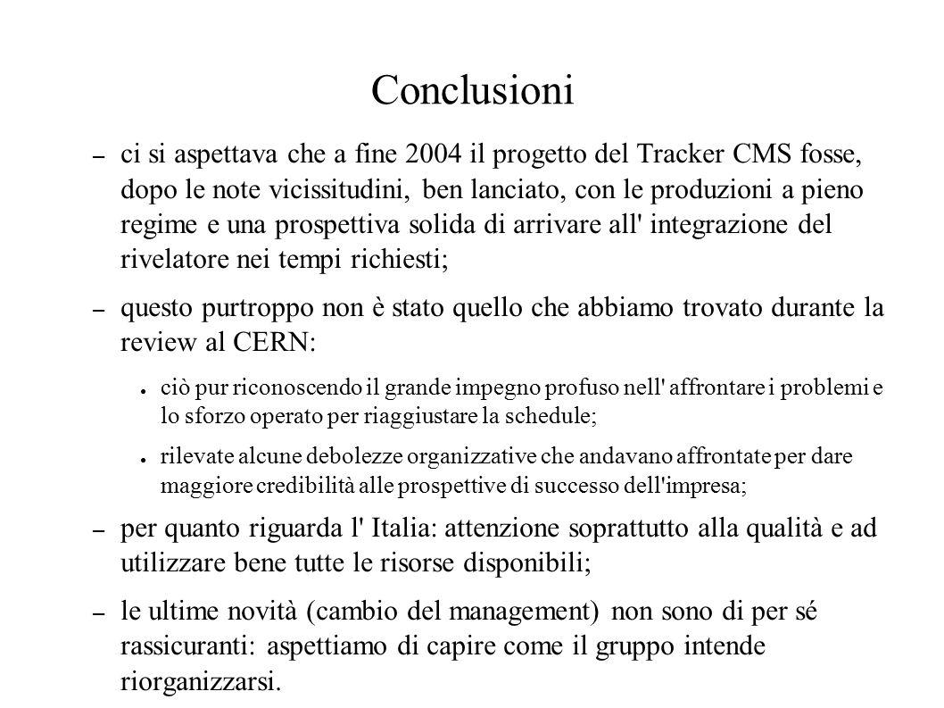 Conclusioni – ci si aspettava che a fine 2004 il progetto del Tracker CMS fosse, dopo le note vicissitudini, ben lanciato, con le produzioni a pieno regime e una prospettiva solida di arrivare all integrazione del rivelatore nei tempi richiesti; – questo purtroppo non è stato quello che abbiamo trovato durante la review al CERN: ● ciò pur riconoscendo il grande impegno profuso nell affrontare i problemi e lo sforzo operato per riaggiustare la schedule; ● rilevate alcune debolezze organizzative che andavano affrontate per dare maggiore credibilità alle prospettive di successo dell impresa; – per quanto riguarda l Italia: attenzione soprattutto alla qualità e ad utilizzare bene tutte le risorse disponibili; – le ultime novità (cambio del management) non sono di per sé rassicuranti: aspettiamo di capire come il gruppo intende riorganizzarsi.