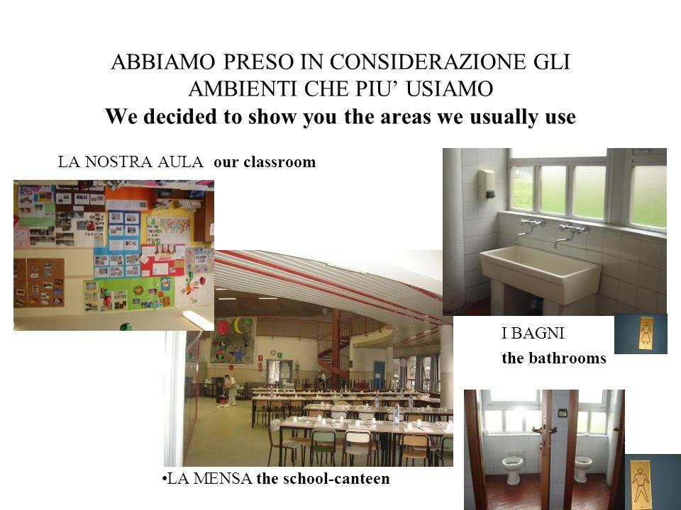 ABBIAMO PRESO IN CONSIDERAZIONE GLI AMBIENTI CHE PIU' USIAMO We decided to show you the areas we usually use LA NOSTRA AULA our classroom I BAGNI the