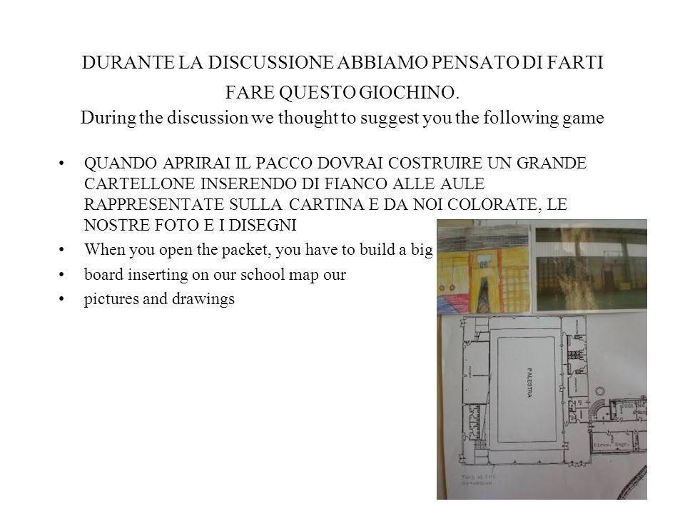 DURANTE LA DISCUSSIONE ABBIAMO PENSATO DI FARTI FARE QUESTO GIOCHINO. During the discussion we thought to suggest you the following game QUANDO APRIRA