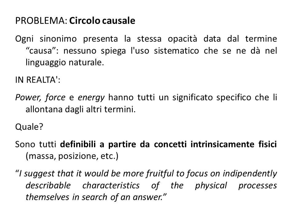 PROBLEMA: Circolo causale Ogni sinonimo presenta la stessa opacità data dal termine causa : nessuno spiega l uso sistematico che se ne dà nel linguaggio naturale.