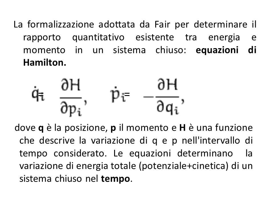 La formalizzazione adottata da Fair per determinare il rapporto quantitativo esistente tra energia e momento in un sistema chiuso: equazioni di Hamilton.