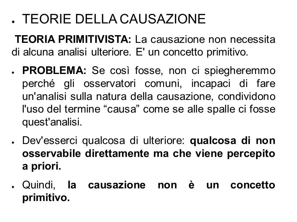 ● TEORIE DELLA CAUSAZIONE TEORIA PRIMITIVISTA: La causazione non necessita di alcuna analisi ulteriore.