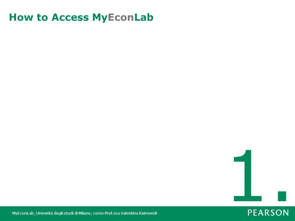 MyEconLab_Univerità degli studi di Milano, corso Prof.ssa Valentina Raimondi How to Access MyEconLab 1.