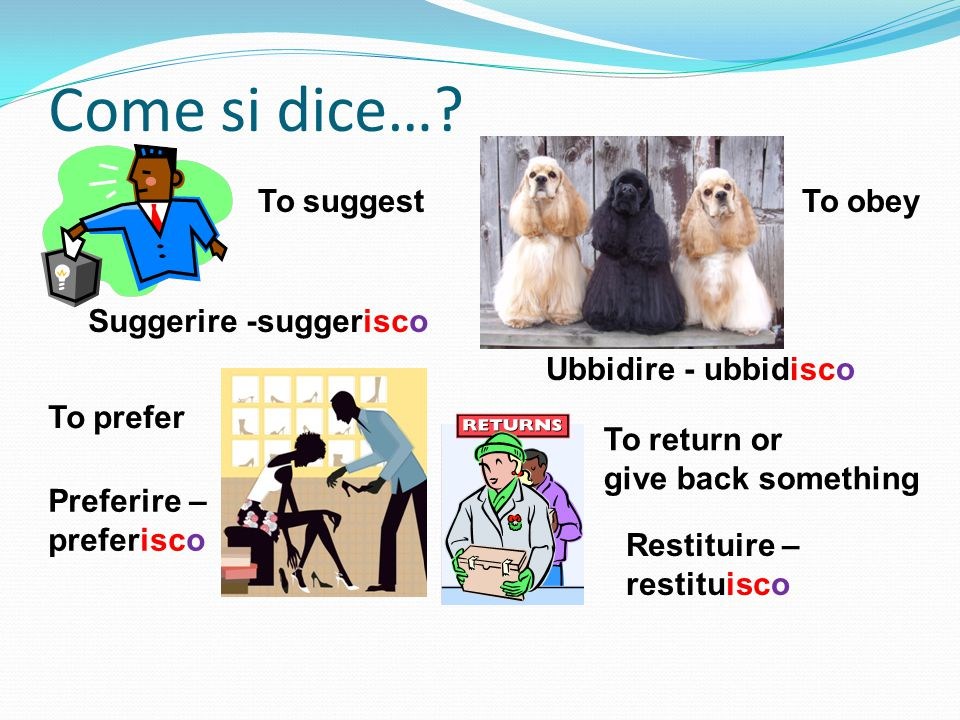 Come si dice…? To suggest Suggerire -suggerisco To obey Ubbidire - ubbidisco To prefer Preferire – preferisco To return or give back something Restitu