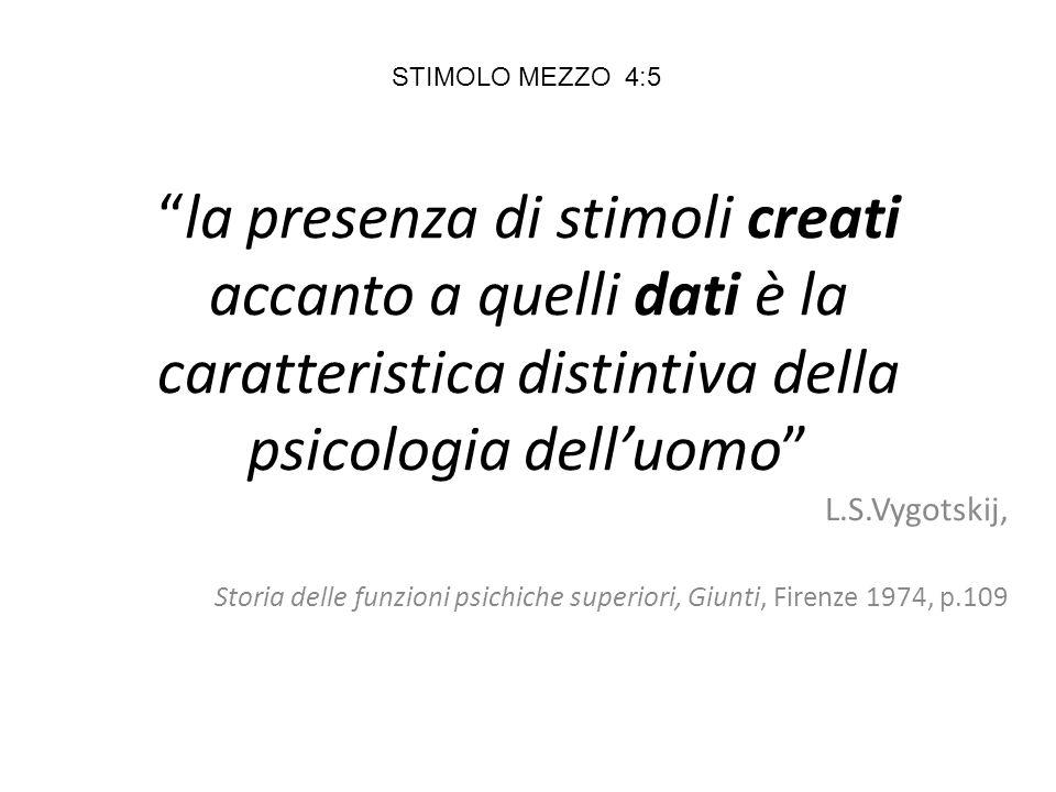 la presenza di stimoli creati accanto a quelli dati è la caratteristica distintiva della psicologia dell'uomo L.S.Vygotskij, Storia delle funzioni psichiche superiori, Giunti, Firenze 1974, p.109 STIMOLO MEZZO 4:5