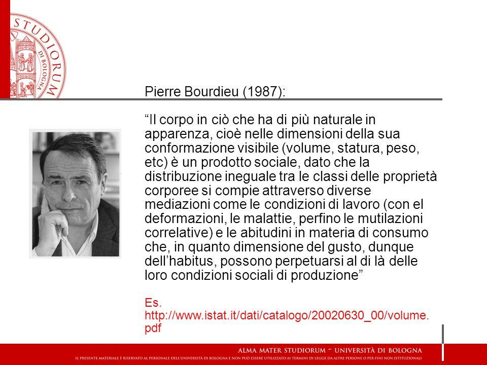"""Pierre Bourdieu (1987): """"Il corpo in ciò che ha di più naturale in apparenza, cioè nelle dimensioni della sua conformazione visibile (volume, statura,"""