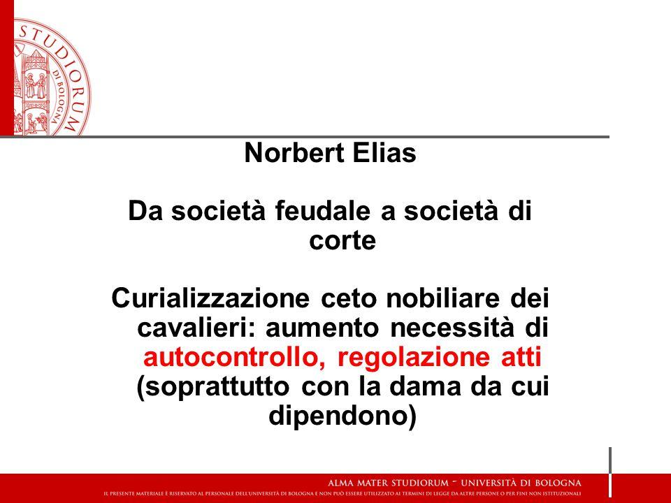 Norbert Elias Da società feudale a società di corte Curializzazione ceto nobiliare dei cavalieri: aumento necessità di autocontrollo, regolazione atti