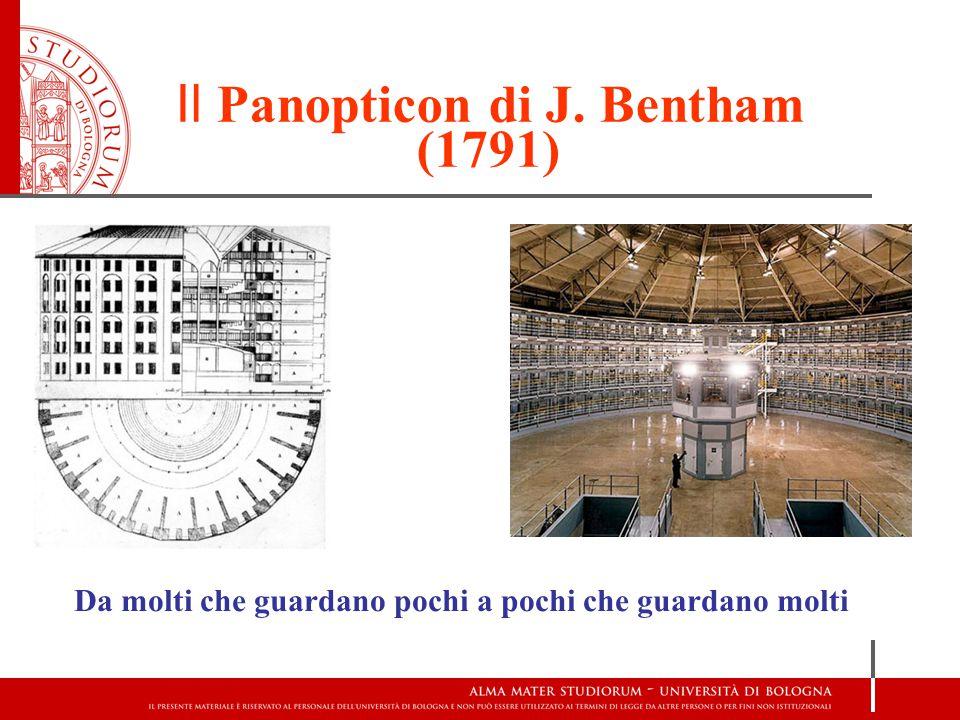 Il Panopticon di J. Bentham (1791) Da molti che guardano pochi a pochi che guardano molti