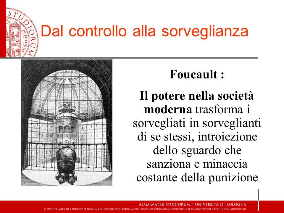 Dal controllo alla sorveglianza Foucault : Il potere nella società moderna trasforma i sorvegliati in sorveglianti di se stessi, introiezione dello sg